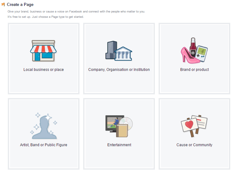 Facebook's page categories