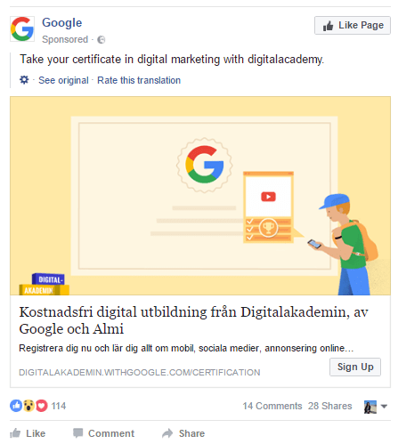 Google's Facebook sponsored post