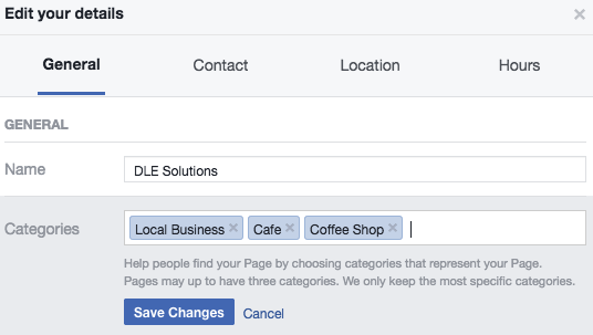 Facebook category changes